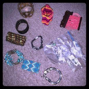 Lot stretch bracelets and sterling silver jewelry